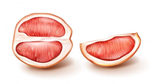 De helft en plakje rode grapefruit Gratis Vector