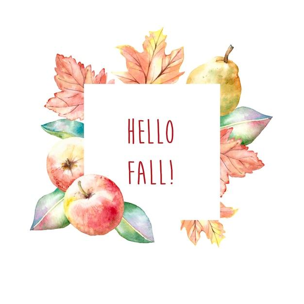 De herfstkader van de waterverf met appelen en peren Premium Vector