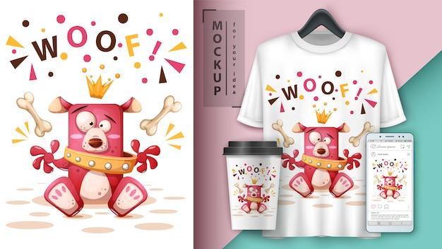 De hondillustratie van de prinses voor t-shirt, kop en smartphonebehang Premium Vector