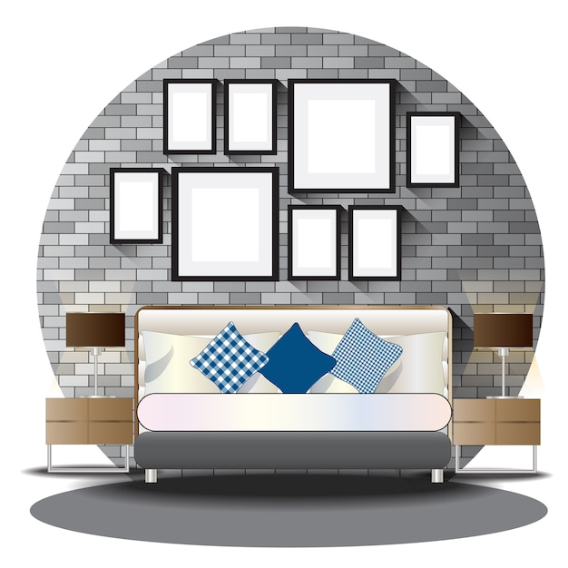 De hoogte van de slaapkamer die met achtergrond wordt geplaatst Premium Vector
