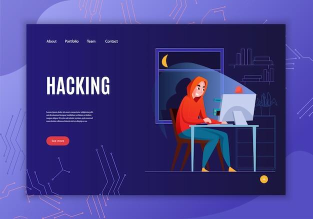 De horizontale banner van het hakkerconcept met het hacken van krantekop ziet meer knoop en vier koppelingsillustratie Gratis Vector