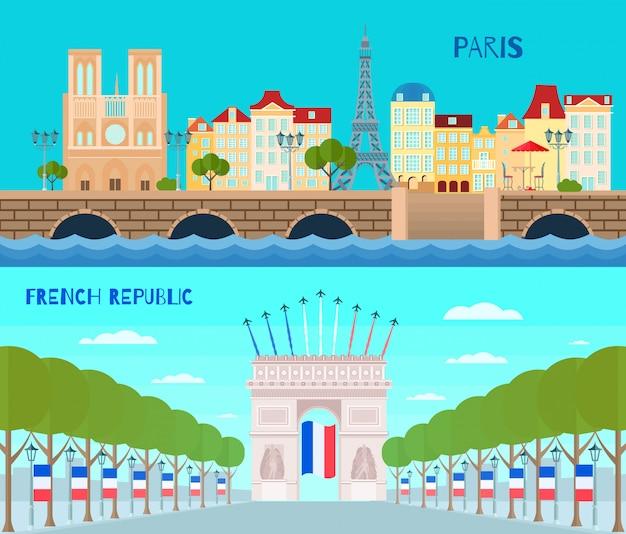 De horizontale die banners van frankrijk met de franse geïsoleerde vectorillustratie van de republiekssymbolen vlak worden geplaatst Gratis Vector