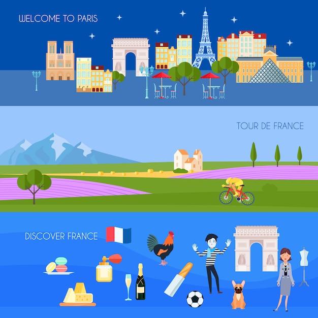 De horizontale die banners van frankrijk met de symbolen vlak geïsoleerde vectorillustratie van parijs worden geplaatst Gratis Vector