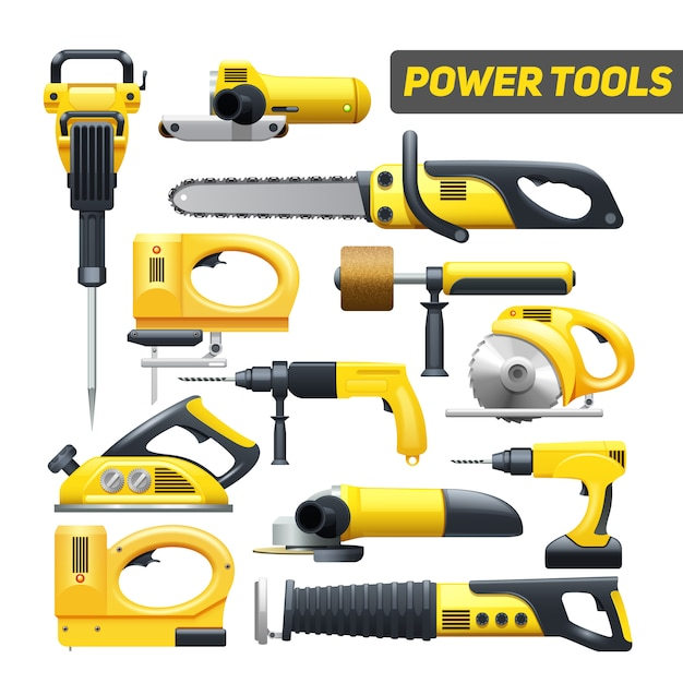 De hulpmiddelen vlakke die pictogrammen van de elektrische hulpmiddelenbouwvakker in zwart en geel worden geplaatst Gratis Vector