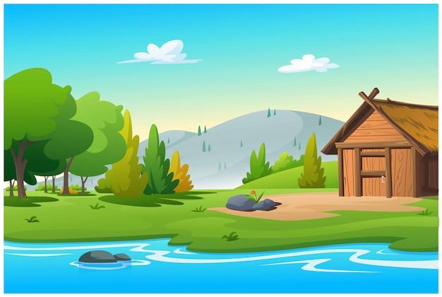 De hut bij de stroom in de heldere ochtend. Premium Vector