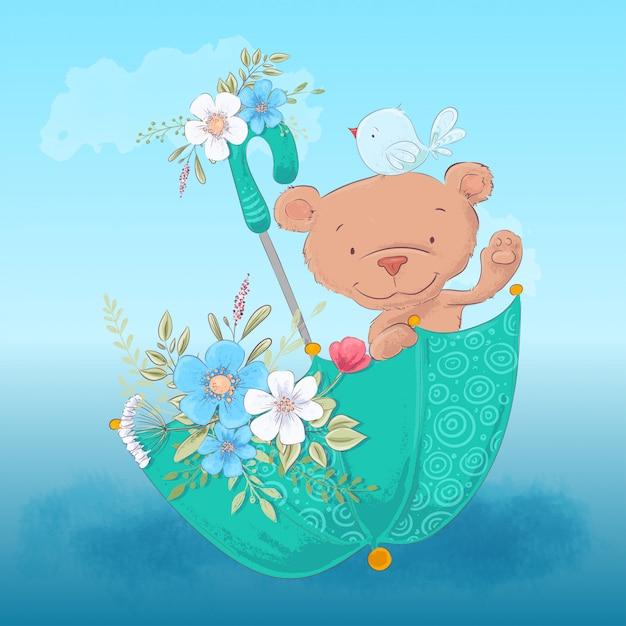 De illustratie leuke beer van kinderen en een vogel in een paraplu met bloemen Premium Vector