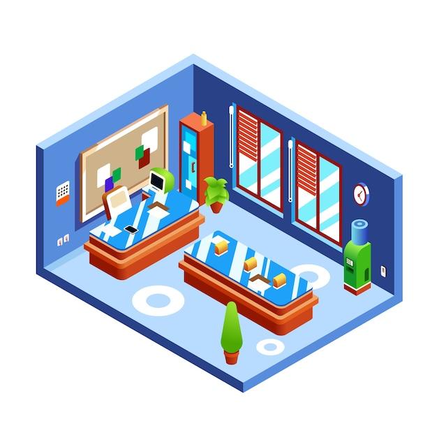 De illustratie van de bureauruimte van moderne ruimte van werkgever of presentatie in dwarsdoorsnede Gratis Vector