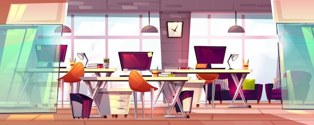 De illustratie van de bureauwerkruimte of coworking bedrijfs open werkplaatsbinnenland. Gratis Vector