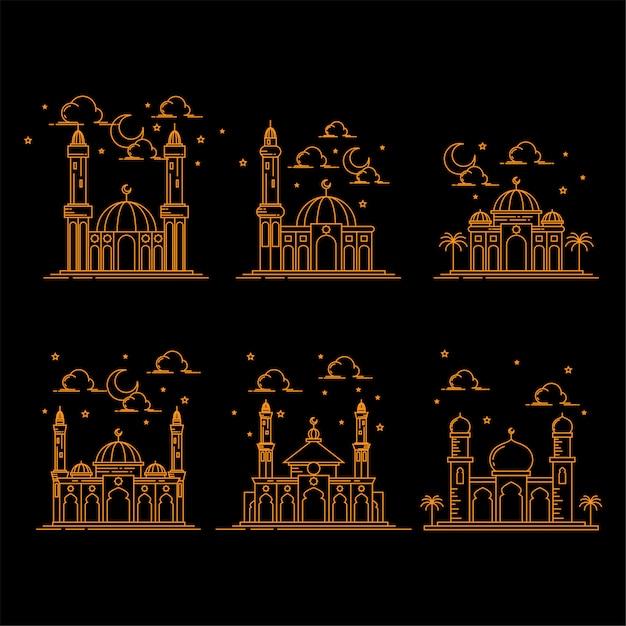 De illustratie van de de lijnkunstontwerp van de moskeebouw isoleerde zwarte achtergrond Premium Vector