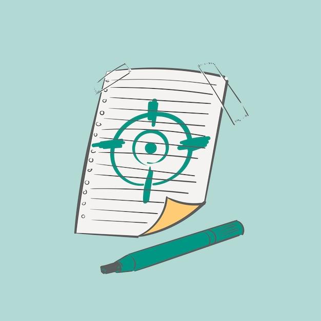 De illustratie van de handtekening van het concept van het doelstellingendoel Gratis Vector