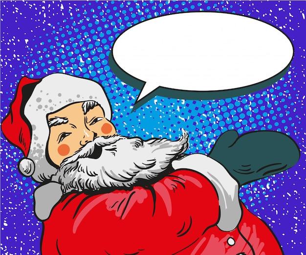 De illustratie van de kerstman in grappige pop-artstijl. merry christmas holiday poster en wenskaart Premium Vector