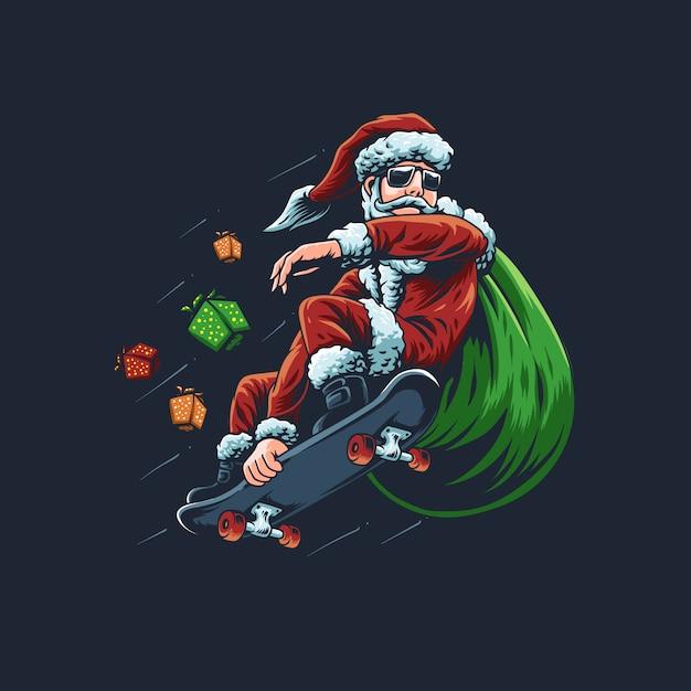 De illustratie van de kerstman met een skateboard Premium Vector