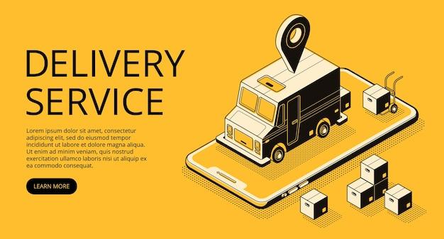 De illustratie van de leveringsdienst van ladervrachtwagen en pakketdozen bij pakhuis. Gratis Vector