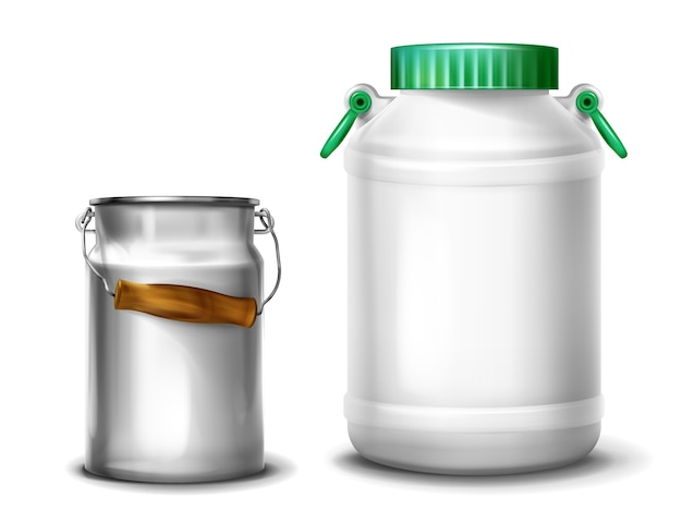 De illustratie van de melkcontainer van retro metaalaluminium kan of plastic waterkruik met glb Gratis Vector