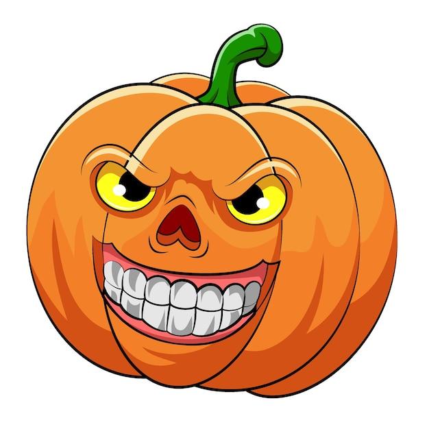 De illustratie van de oranje pompoen met grote glimlach en gele ogen voor halloween Premium Vector