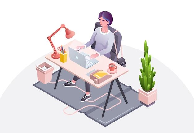 De illustratie van de vrouwenwerkplaats van onderneemster, secretaresse of manager die in bureau werken Gratis Vector