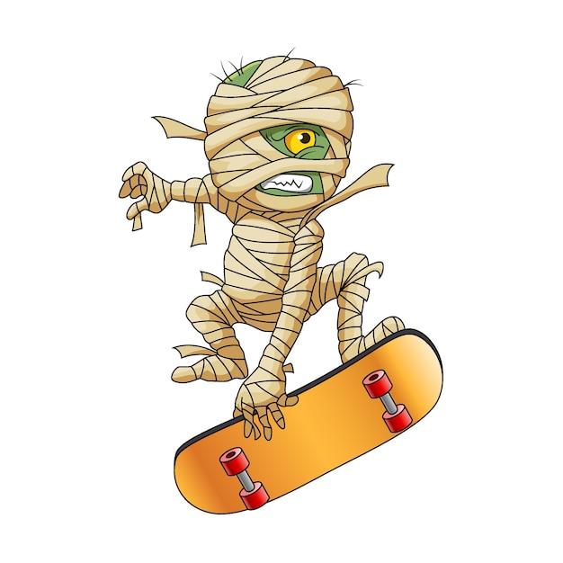 De illustratie van de zombiemummie met het gele oog die het gele skatebord speelt voor de logo-inspiratie Premium Vector