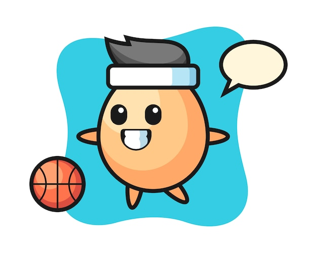 De illustratie van eibeeldverhaal speelt basketbal, leuk stijlontwerp voor t-shirt, sticker, embleemelement Premium Vector