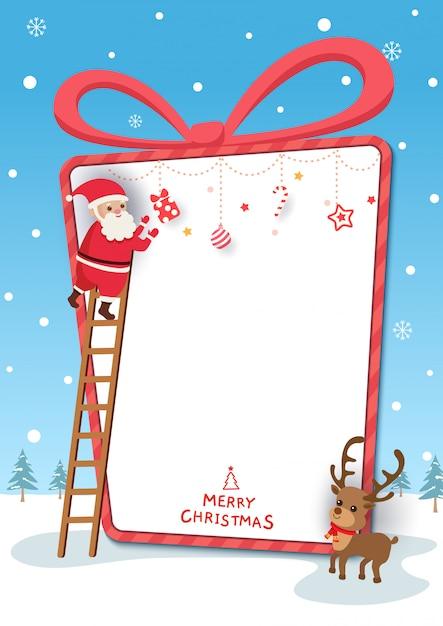 De illustratie van het chirstmasfestival met de kerstman en rendier in huidig dooskader op sneeuwachtergrond. Premium Vector