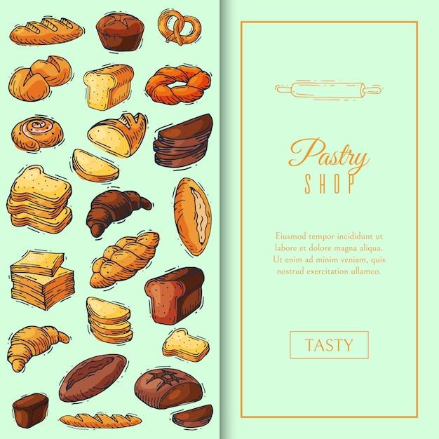 De illustratie van het het broodpatroon van het verse brood. Premium Vector