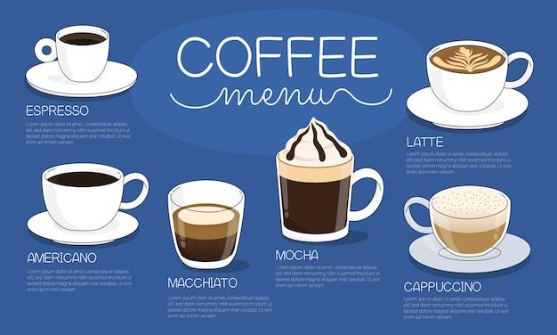De illustratie van het koffiemenu met verschillende hete types van koffiedrank op blauwe achtergrond Premium Vector