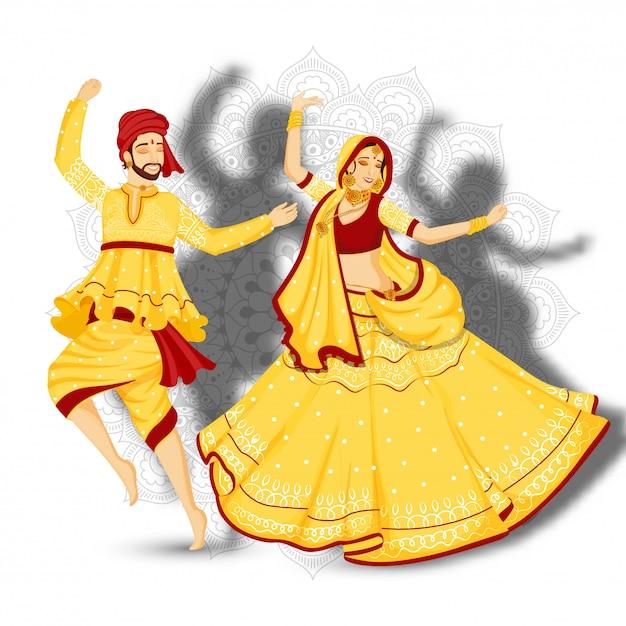 De illustratie van jonge paar dansende garba stelt op witte mandala bloemenachtergrond. Premium Vector