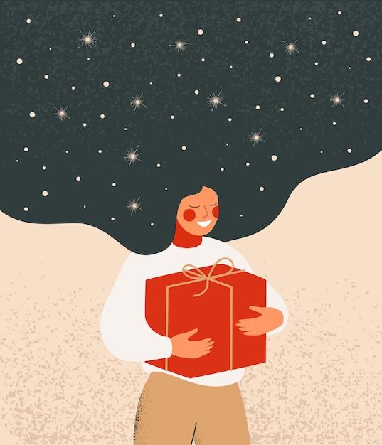 De illustratie van kerstmis met dromerige vrouw met vliegend haar houdt rode giftdoos Premium Vector