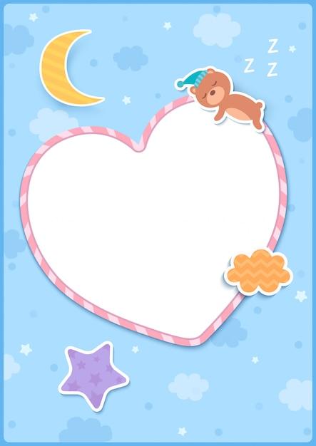 De illustratie van slaap draagt op hartframe met stermaan en wolk wordt verfraaid op blauwe achtergrond die. Premium Vector