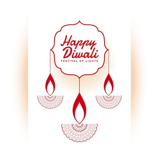 De indische gelukkige witte illustratie van het diwalifestival Gratis Vector