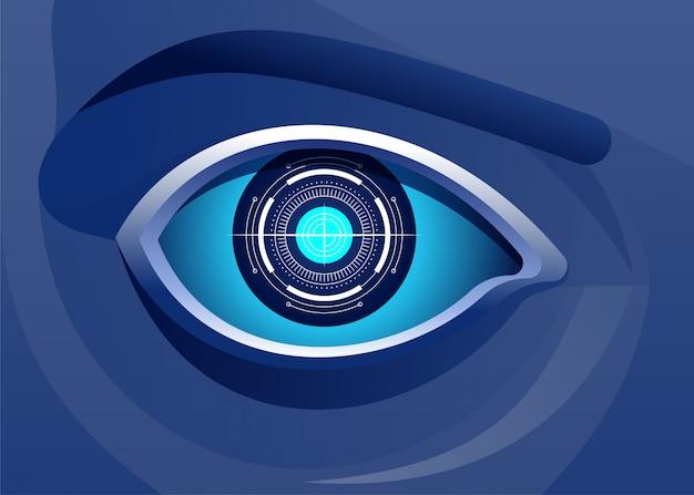 De intelligentieillustratie van het digitale technologie kunstmatige oog Premium Vector