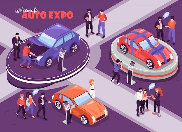 De isometrische achtergrond van de autotoonzaal met menselijke karakters van mensen met gedachte bellen en auto's op podiumillustratie Gratis Vector