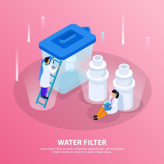 De isometrische achtergrond van de waterzuivering met de kop van de waterfilter en wetenschappers bij de laboratoriumillustratie Gratis Vector
