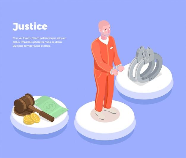 De isometrische achtergrond van de wetsrechtvaardigheid met pictogrammen beoordeelt zeer litigieuze gevangene van symbolenpolsbandjes en de bewerkbare illustratie van de tekstbeschrijving Gratis Vector