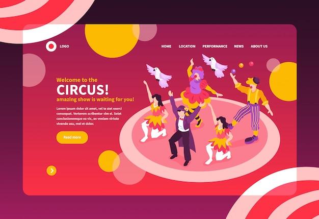 De isometrische circusartiesten tonen het ontwerp van de de bestemmingspagina van de conceptenwebsite met tekst en afbeeldingen vectorillustratie Gratis Vector