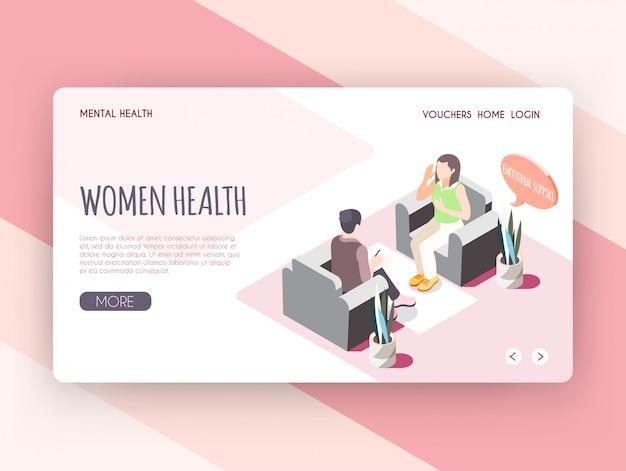 De isometrische landingspagina van de vrouwengezondheid met jonge vrouw die emotionele steun ontvangen bij de vectorillustratie van het psychologenkabinet Gratis Vector