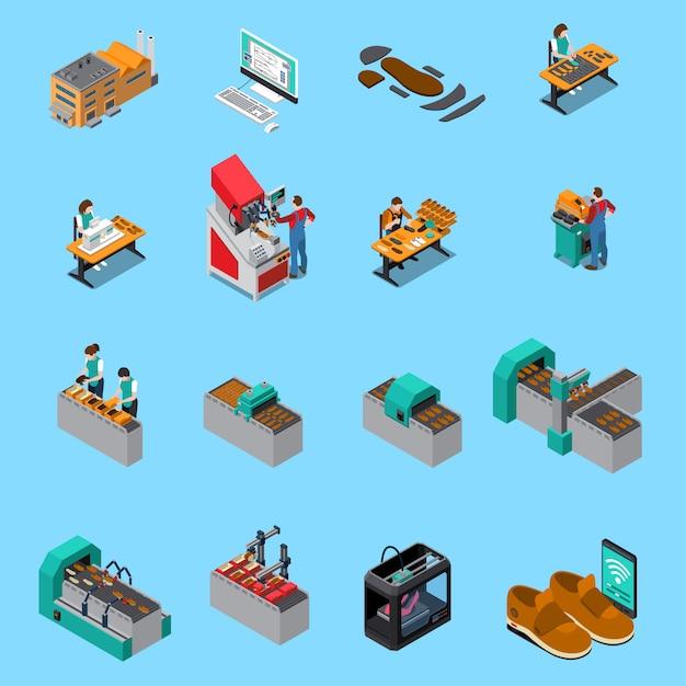 De isometrische pictogrammen van de schoeiselfabriek die met de elementen van de schoenenproductie worden geplaatst Gratis Vector