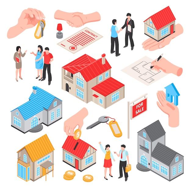De isometrische reeks van de makelaar in onroerend goed van de verkoopuitwisseling van geïsoleerde pictogrammen van huizenmuntstukken en mensen vectorillustratie Gratis Vector