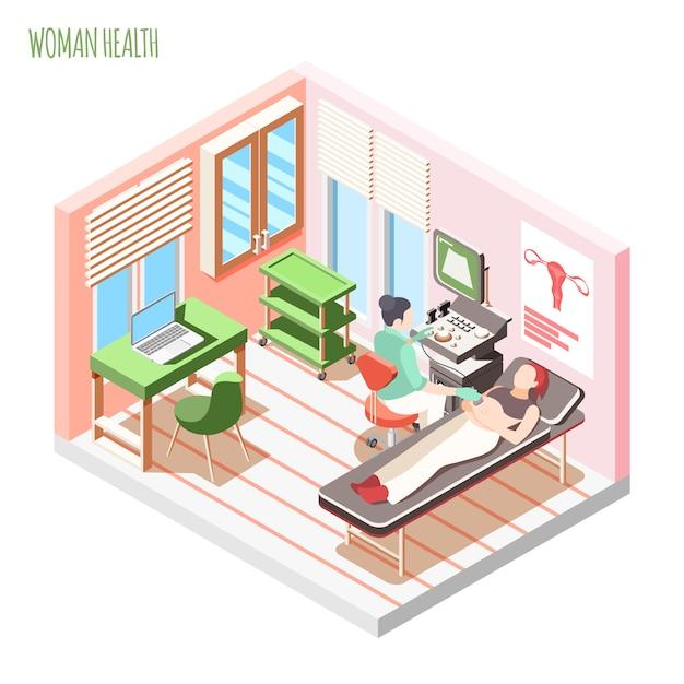De isometrische samenstelling van de vrouwengezondheid met vrouwelijke arts en vrouw die op laag tijdens ultrasone klank leggen die vectorillustratie controleren Gratis Vector