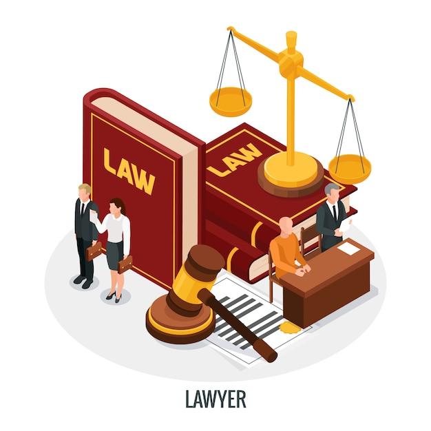 De isometrische samenstelling van de wetsrechtvaardigheid met de boeken van kleine mensenkarakters van wetshamer en gouden gewichts vectorillustratie Gratis Vector