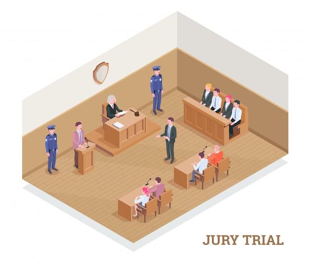 De isometrische samenstelling van de wetsrechtvaardigheid met tekst en mening van rechtszaal tijdens zitting met menselijke karaktersillustratie Gratis Vector