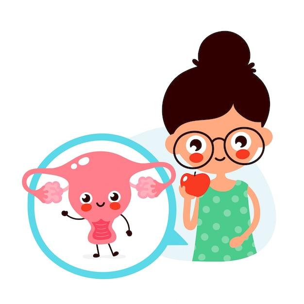 De jonge leuke vrouw eet appelfruit. gelukkig schattige baarmoeder in cirkel. Premium Vector