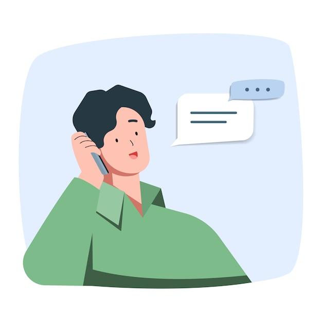 De jonge mens glimlacht het spreken op de telefoon Premium Vector
