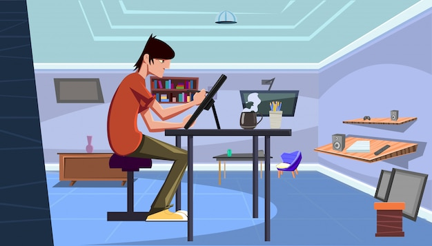 De jonge professionele kunstenaarsillustrator trekt thuis met een pen op een tablet in zijn bureau Premium Vector