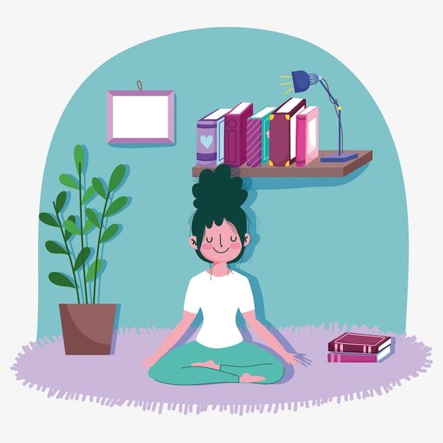 De jonge vrouw in lotusbloem stelt thuis de sportoefening van de yogaactiviteit Premium Vector