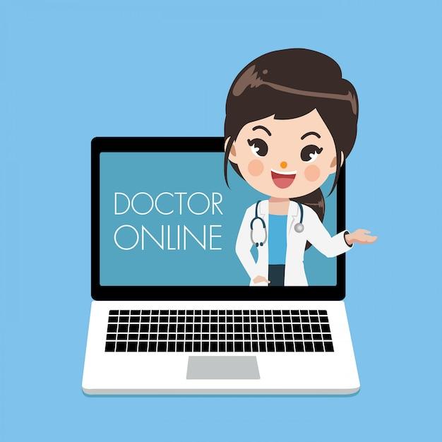 De jonge vrouwelijke arts adviseert patiënten door online kanalen of sociale media met een jonge vrouw die uit het laptop scherm te voorschijn komt. Premium Vector