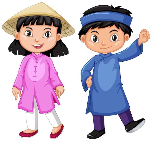De jongen en het meisje van vietnam in traditieuitrusting Gratis Vector