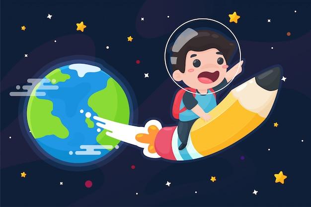 De jongen reed in een houten potlood in plaats van een raket om de wereld uit te vliegen. wetenschap leren concept. Premium Vector