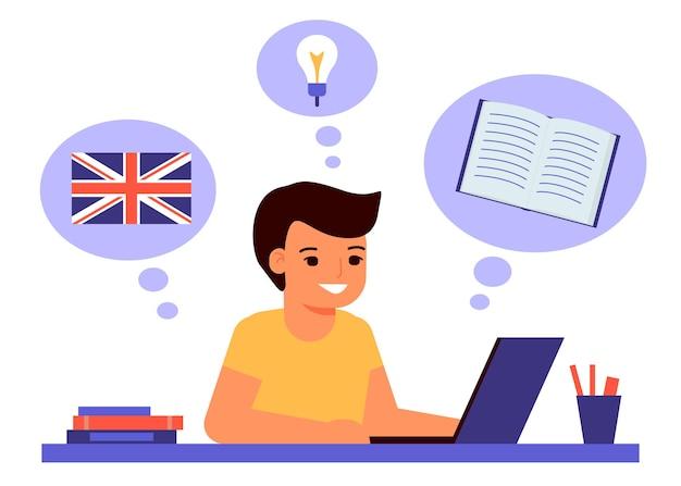 De jongen zit op laptop en leert een engelse les. Premium Vector