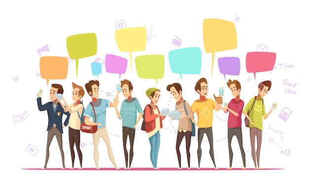 De jongenskarakters van tieners die online retro beeldverhaalaffiche met muzieksymbolen en praatjeberichten communiceren bellen vectorillustratie Gratis Vector