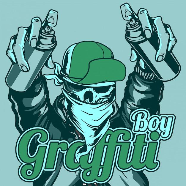 De jongensschedel die van graffiti glb en bandana behandelingsnevelverf draagt Premium Vector